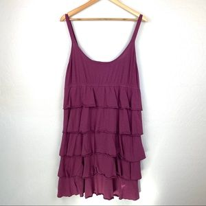 Loft purple ruffled knit sun dress xlarge